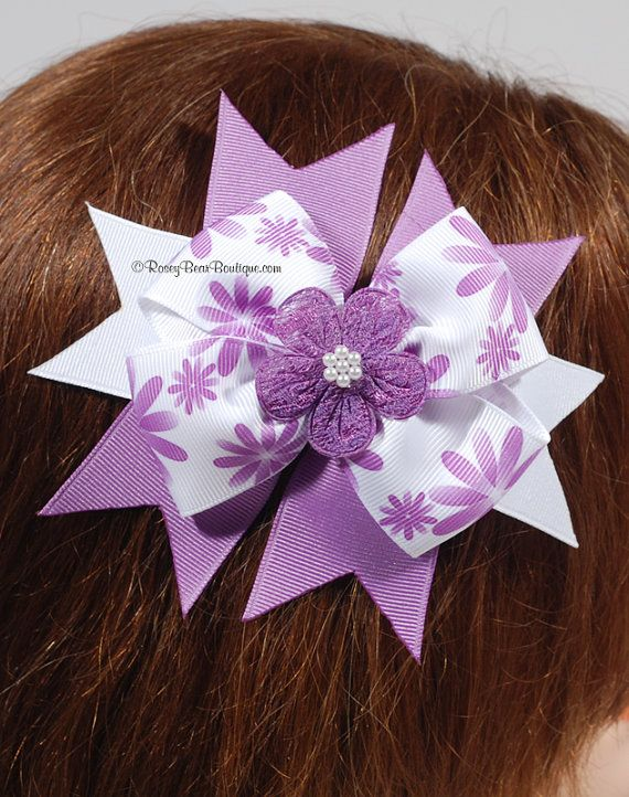 Orchid Blooms and Lace Hair Bow with Sprays  by RoseyBearBoutique, $6.50