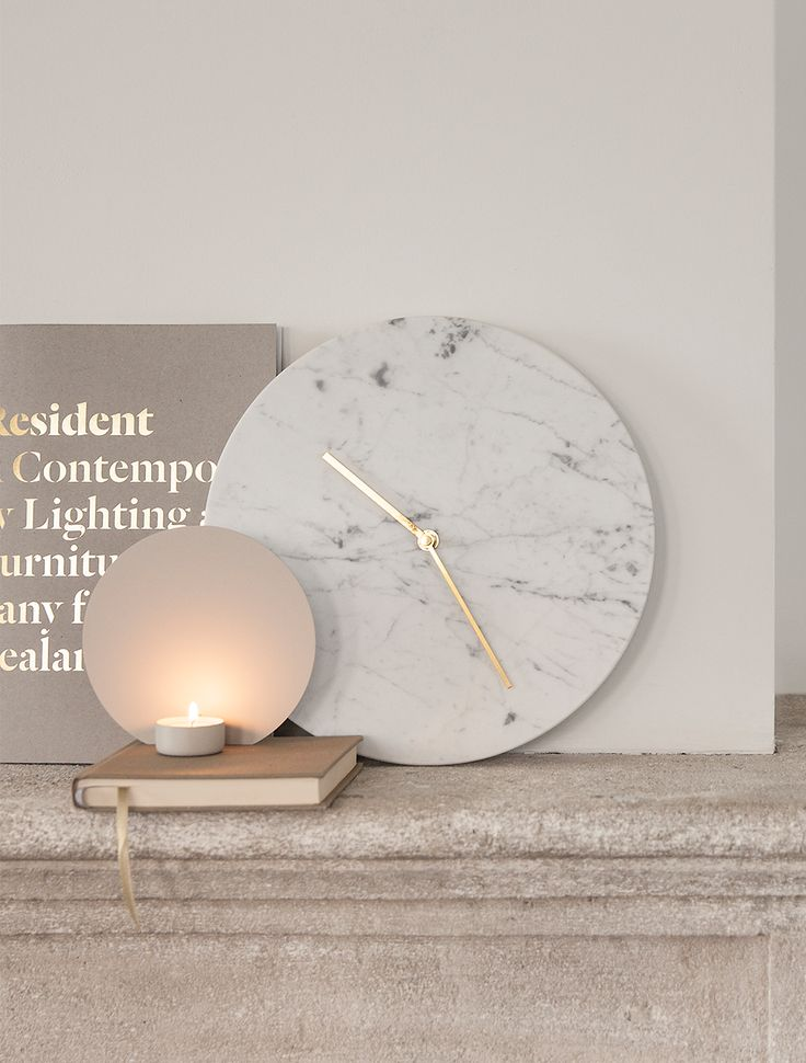 Shadow Play Tealight, Cool Grey Design by Falke Svatun Marble Wall Clock, White Design by Norm Architects
