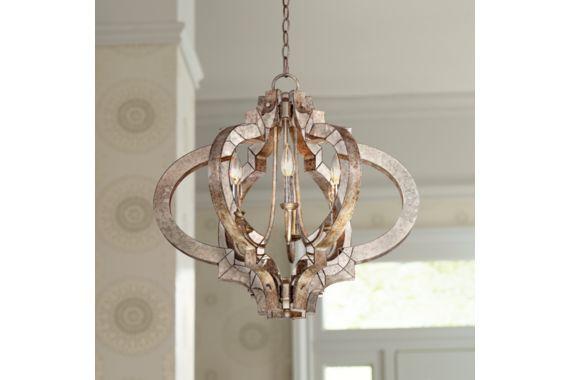Possini Ornament Aged Silver 23 1/4-Inch-W Modern Chandelier - #EUT5031 - Euro Style Lighting