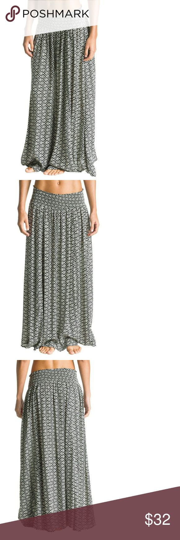 Roxy Mixed Up Printed Maxi Skirt Features      100% Viscose     Imported     Hand Wash     Graphic-pattern maxi skirt with smocked waistband Roxy Skirts Maxi