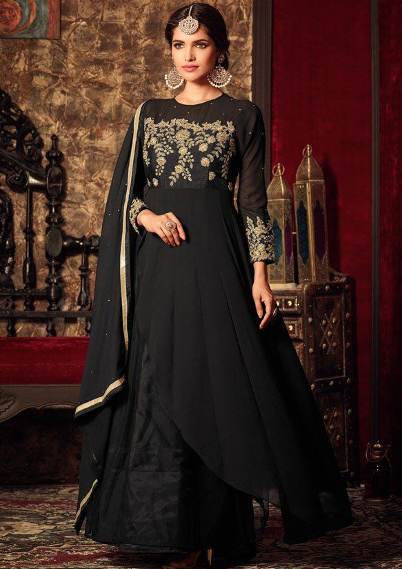 Stunning Black #Churidar Kameez Set