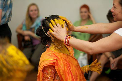 The Haldi Ceremony at a Hindu Wedding  Haldi powder (turmeric), Rose water or water,Sandalwood powder, Mango leaves - to apply the paste