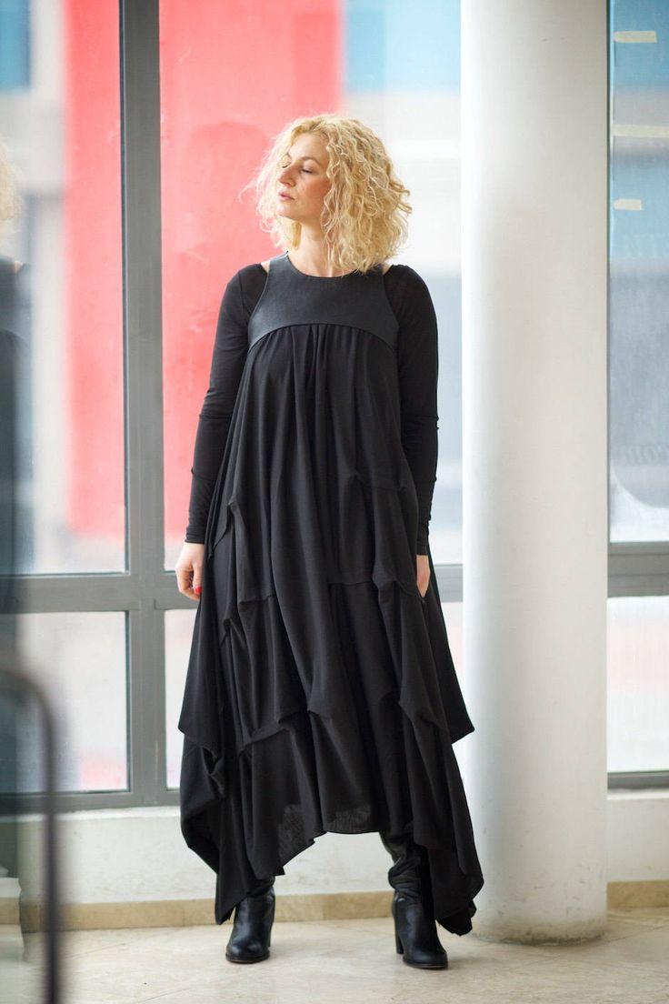 Lungo abito nero vestito abito a pieghe Plus Size Maxi