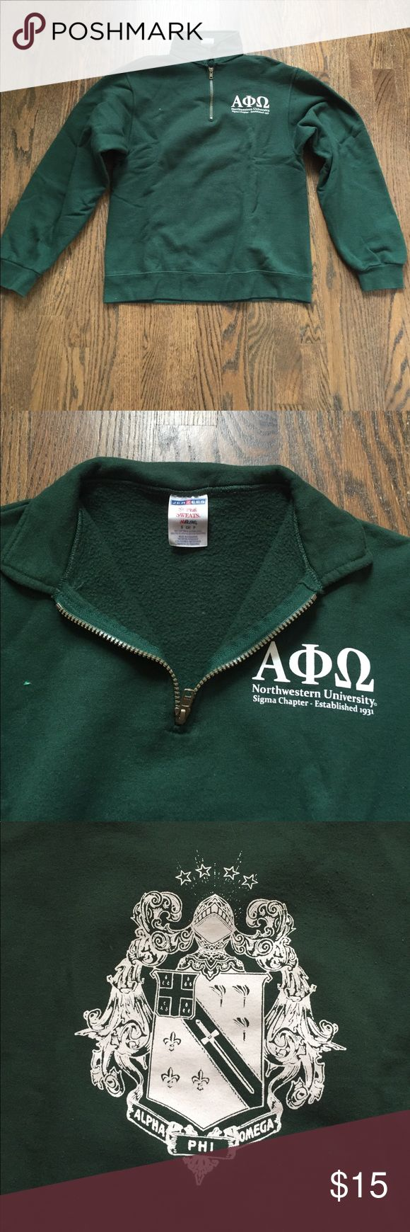 Alpha Phi Omega Quarter Zip Forest green. Jerzees Super Sweats. Greek letters on front and crest on back. Northwestern Sigma chapter. Jackets & Coats