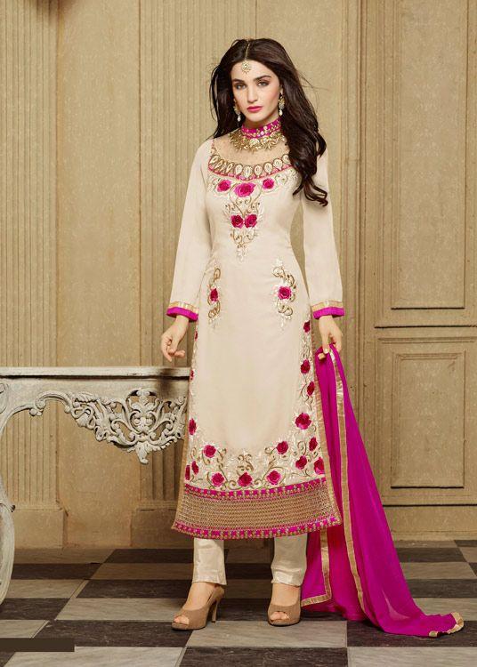 Off White Faux Georgette Pakistani Style Suit 70136