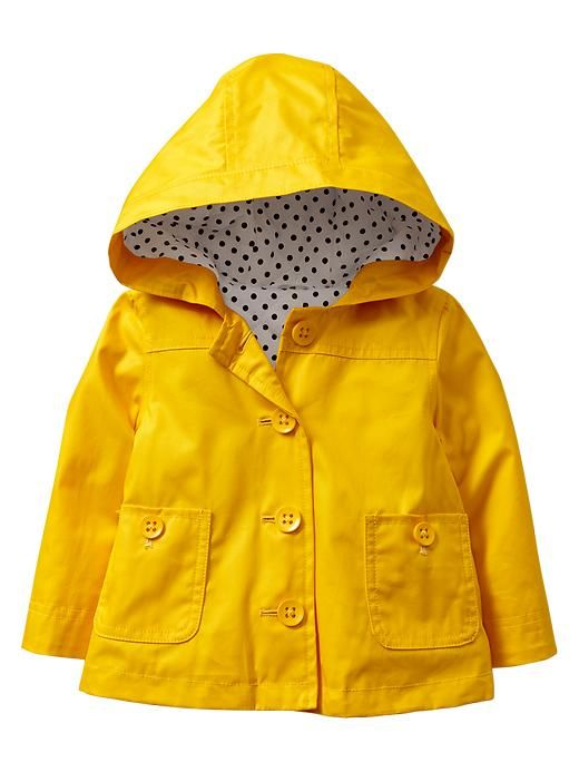 Yellow raincoat with polka dot lining to go with our black polka dot boots :D