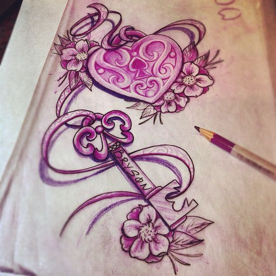 Heart Locket And Key Tattoo, I love this idea for two best friends to have