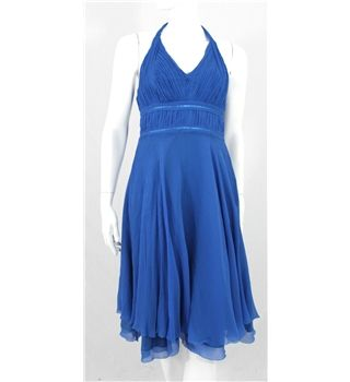 Coast size 8 blue silk halter dress coast party cocktail for Oxfam wedding dress shop