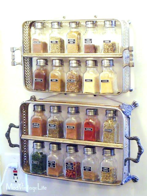 Sliver tray spice racks, by Mod Vintage Life, featured on Funky Junk Interiors