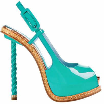 Patent leather; that heal is way to high for me, but a gorgeous shoe it is!