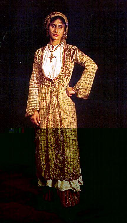 "Costume of Karpasia, ""saya"". Late 19th Century.  Collection of the Cyprus Folk Art Museum."