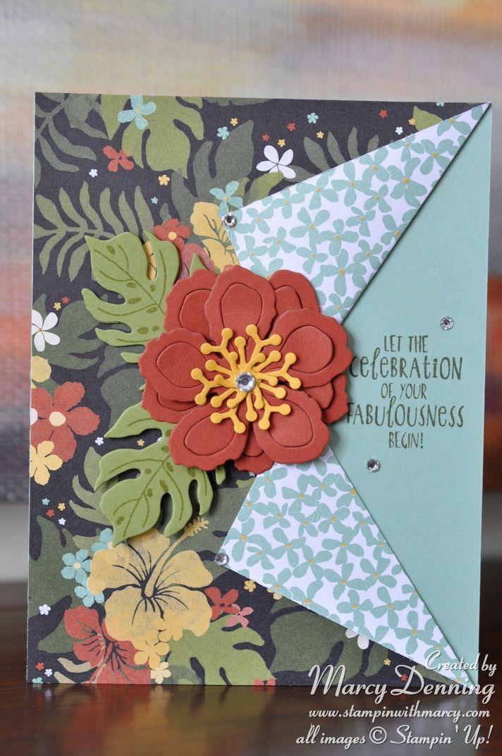 Collar Fold card using Botanical Blooms, Stampin' Up!                                                                                                                                                     More