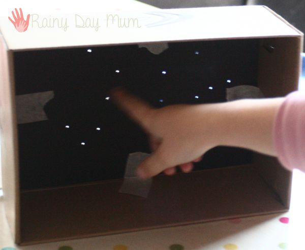 Create your own Constellation Maps for children to investigate the night sky when it's not visible with a simple shoe box design.