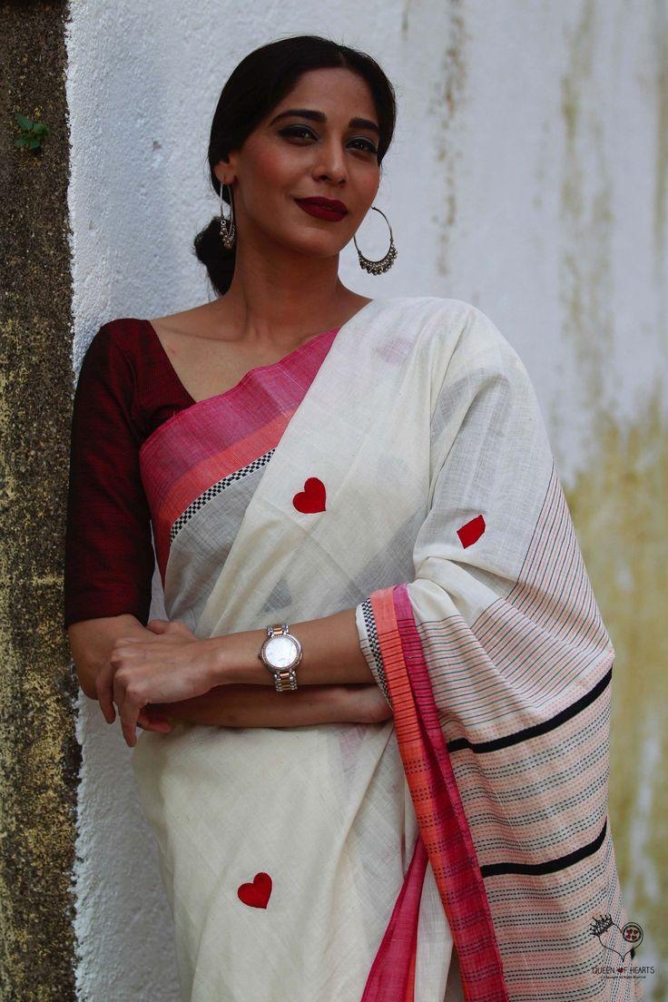 Kora Red Deck of Cards Cotton Saree
