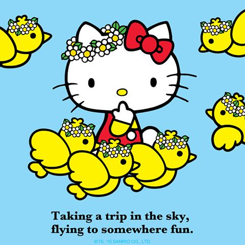 #HelloKitty flies somewhere fun, carried off by the birds