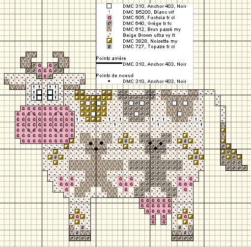 Cross-stitch Decorative Cute Cow, part 1...    Vache ours