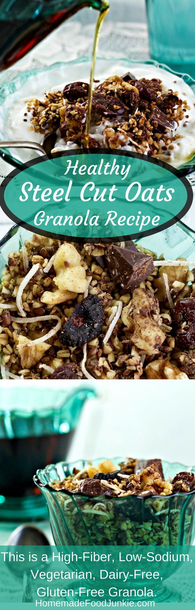 Healthy Steel Cut Oats Granola Recipe is a nutritionally balanced, chewy textured granola with no added sugar! I added dark chocolate chunks, dried figs, cherries, and coconut flakes. This is a High-​Fiber, Low-​Sodium, Vegetarian, Dairy-​Free, Gluten-​Free Granola. http://HomemadeFoodjunkie.com