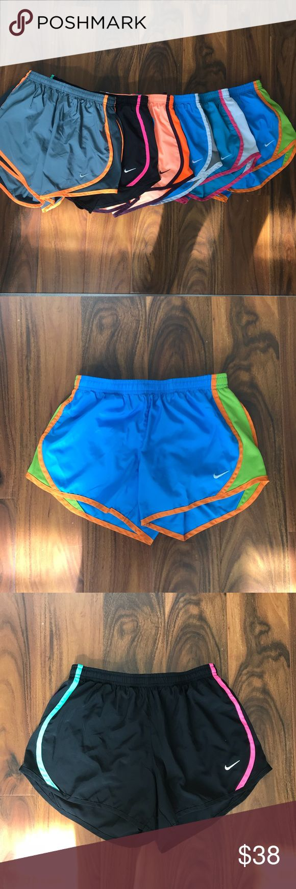 Shorts bundle The black and orange shorts are a kids large. the blue ones are kids medium. These will fit you if you're a women's size XS or a 2 in Lululemon shorts. The grey ones are a women's XS!! Nike Bottoms Shorts