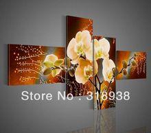 çerçeveli/freeshipping/el- boyalı soyut orkide grup tuval üzerine yağlıboya sanat ev dekorasyonu/yüksek kalite/af263(China (Mainland))