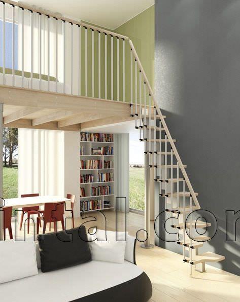 escalera en l peldao de madera modular para espacios pequeos mini plus