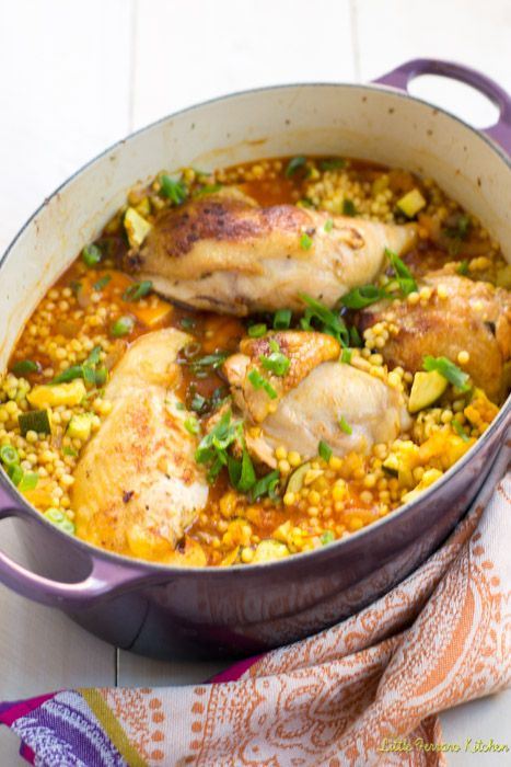 Delicious one-pot meal with saffron, garlic chicken and Israeli couscous.