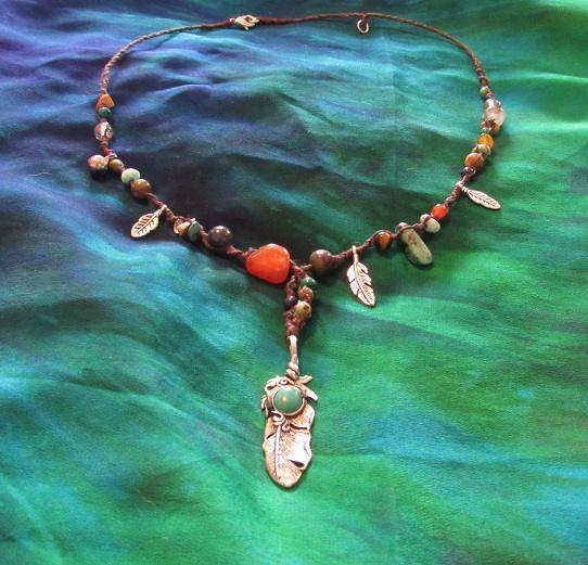 Feather Macrame Crystal Necklace Gemstone Jewellery Turquoise