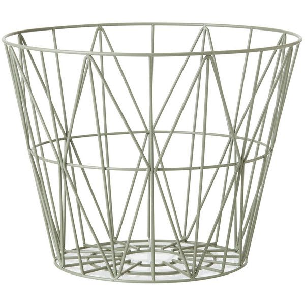 Ferm Living Wire Basket Dusty Green Small By ($85) ❤ liked on Polyvore featuring home, home decor, small item storage, baskets, ferm living, ferm living basket, green basket, green home decor and wire baskets