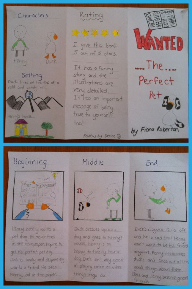 Blog post focused on having kids make pamphlets about their favorite books.
