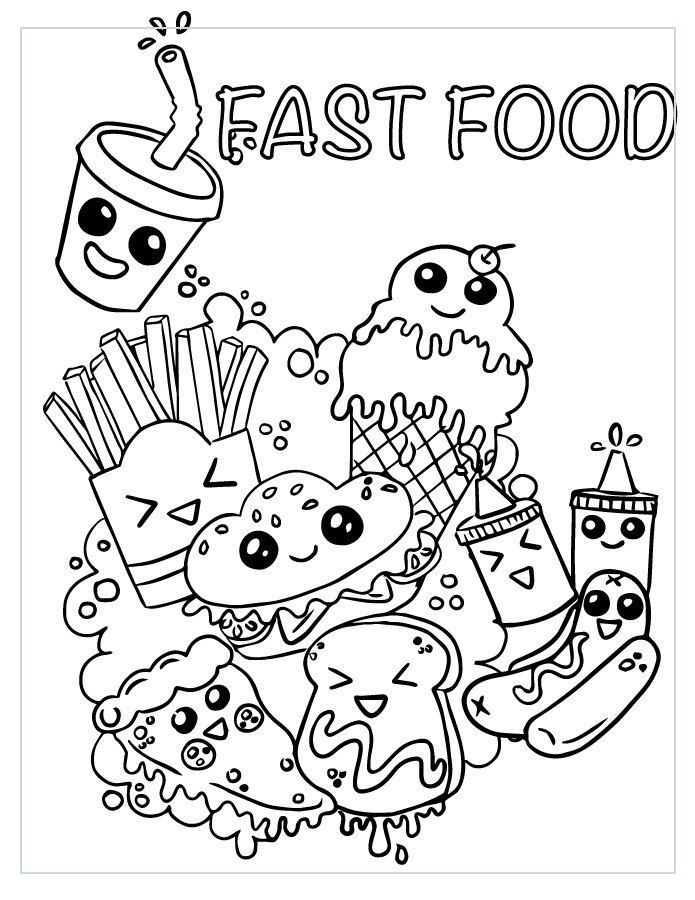 Doodle Art 31219 Coloriage Emoji Fast Food Adorable A Imprimer In 2020 Emoji Coloring Pages Cute Doodle Art Cute Doodles