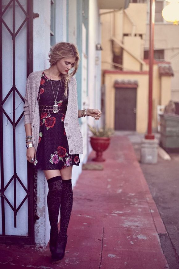 Fitted with Daisies Dress, Cable Cardigan, Skully Double Drop Pendant, Tudor Tall Sock, Daub's Clog (bldg 25 blog).: