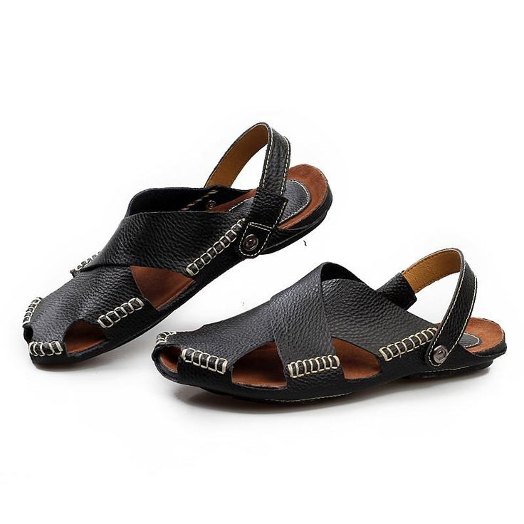 Fashion Men Sandals Genuine Leather Mens Dress Sandals 2017 Summer Breathable Men's Beach Shoes Flip Flops Male Casual Slippers - 10 MINUS