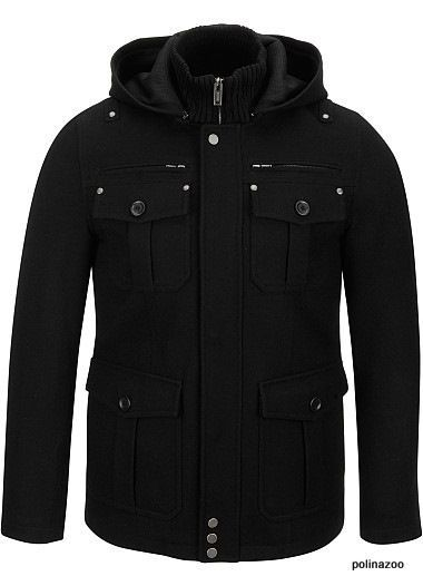 Guess Pea Coat Wool Men S Black Hooded Hipster Coat Jacket