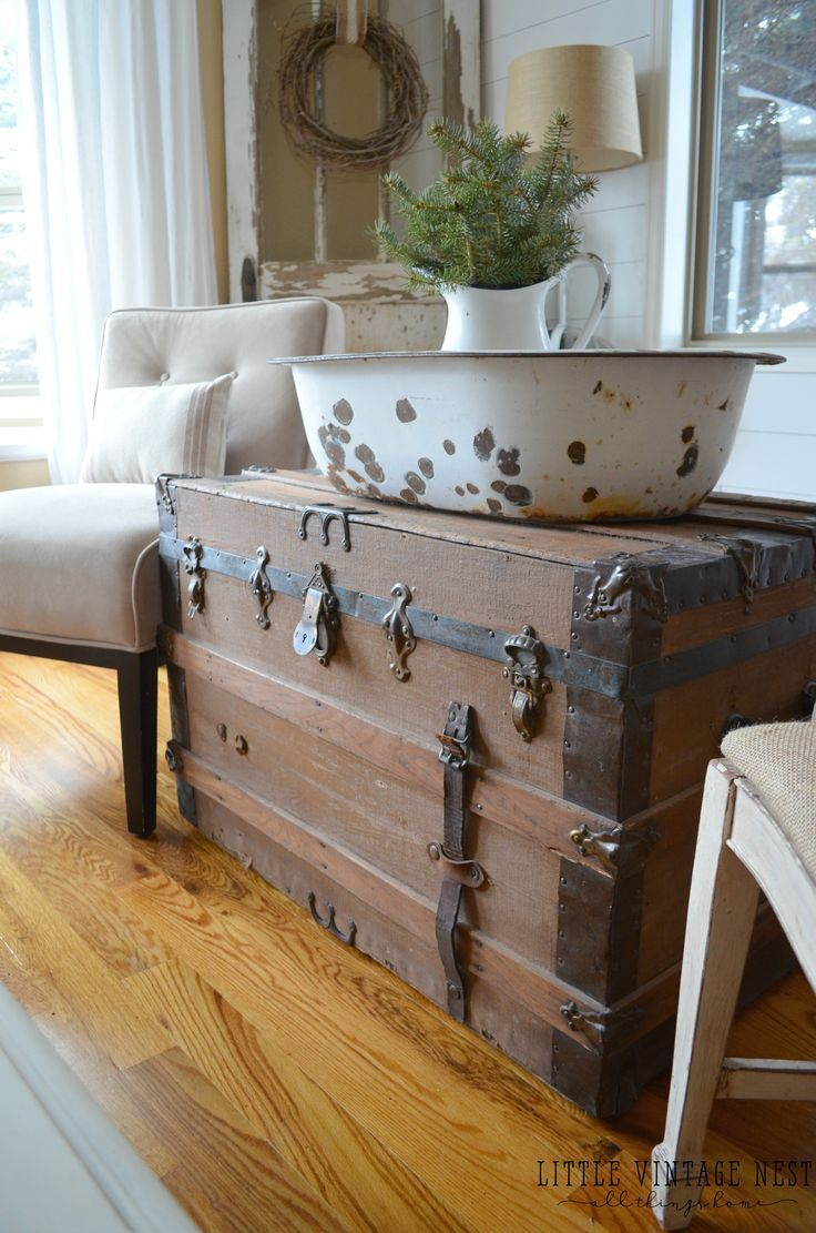 How to Get Farmhouse Style in your Home: Antique Vintage Trunk.