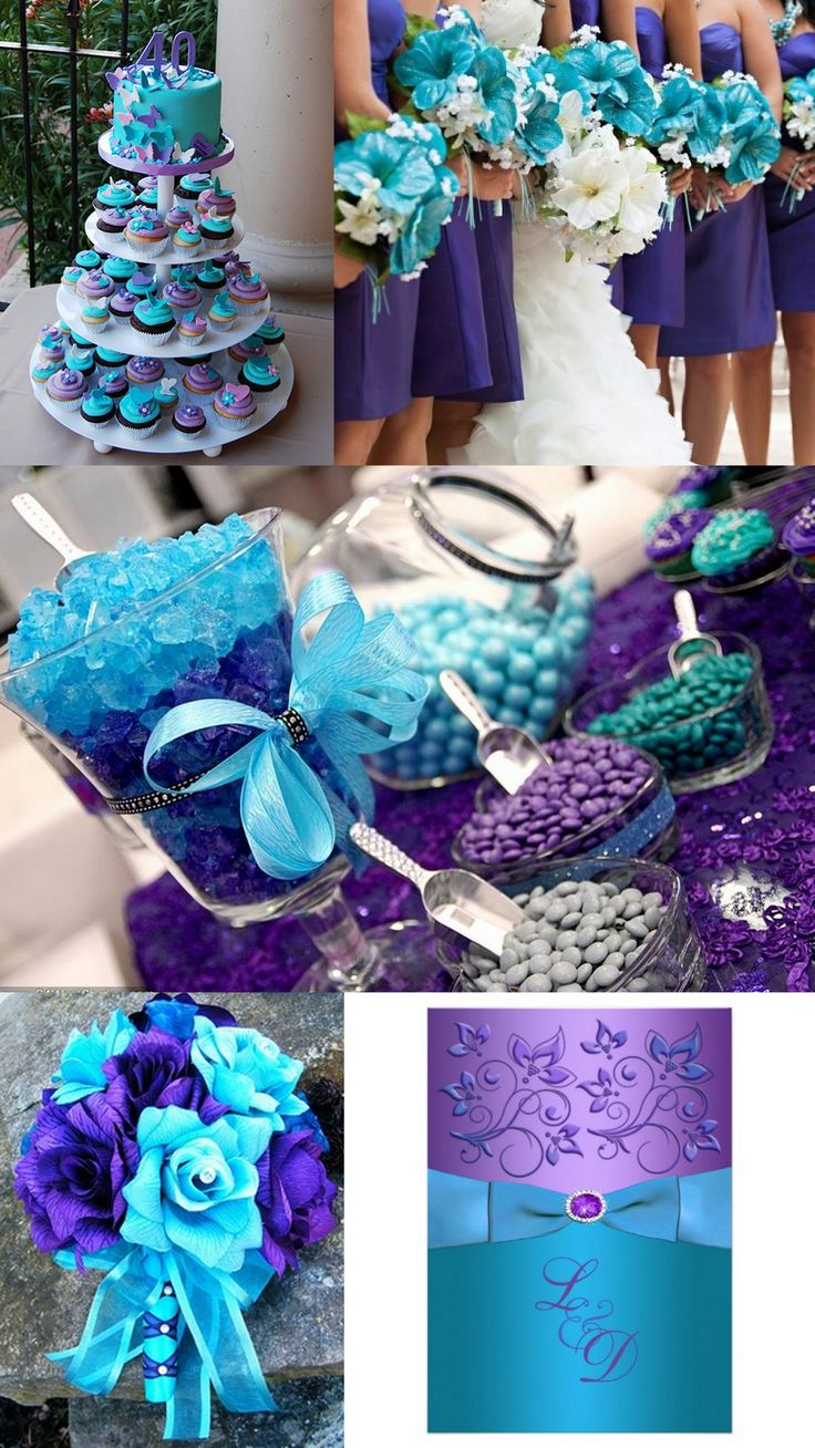 Turquoise-purple wedding theme is an elegant way to add style and sophistication…