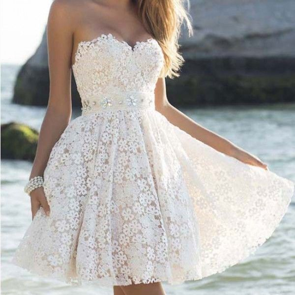 elegant strapless party womens a line flower lace prom short