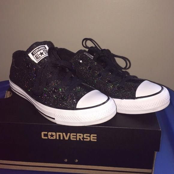 37eb224d8482 Black sparkle Converse All-Stars shoes Black with rainbow sparkles. Brand  new condition. Worn once for maybe 2 hours. They have just been sitting in  their ...