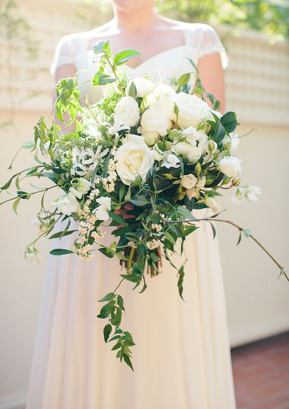 Green and white bridal bouquet by Brown Paper Design/Photo by Annie McElwain/Planning and Design by Green Ribbon Parties