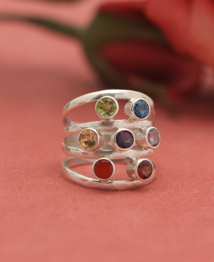sterling silver multi band chakra ring silver rings
