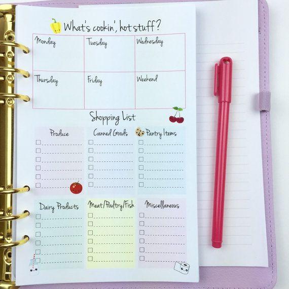 Kawaii Menu Planning A5 Planner Insert