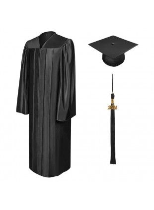 Birrete, toga y borla de graduación de primaria negro brillante