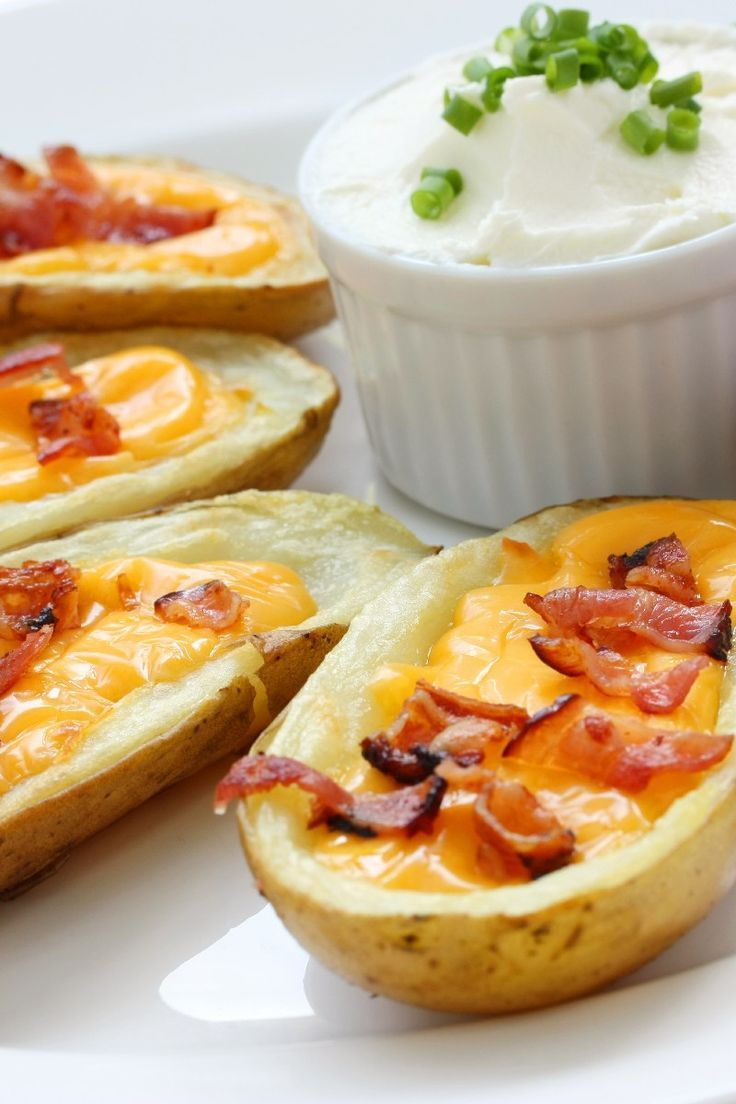potato skins. cheddar with bacon | Gastronomy | Pinterest