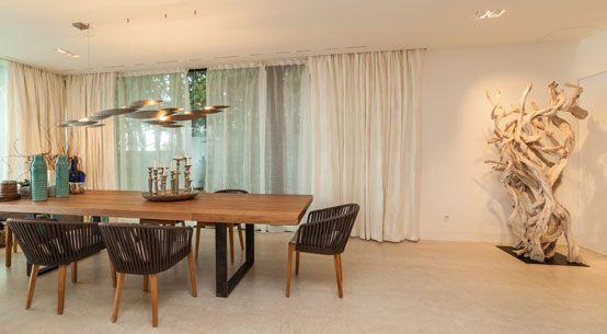 comedor, vivienda lujo, decoración, diseño, iluminación, cortinas