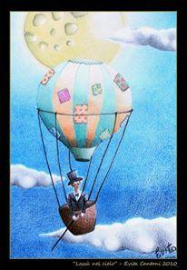"""""""In mongolfiera"""" Pastelli su carta di Evita cantoni"""