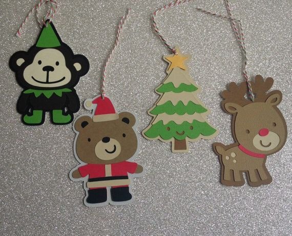 READY TO SHIP  Christmas tags.  Elf monkey by 2inspiredcrafters