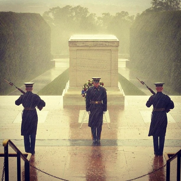 These brave soldiers are braving the force of Hurricane Sandy (Oct 2012) to guard The Tomb of the Unknown Soldier. Photo by davidhelbig