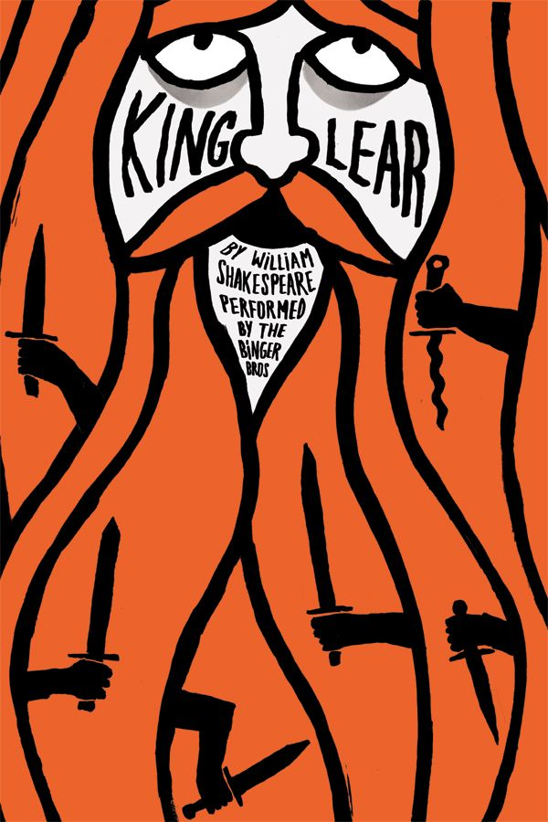King Lear theatre poster by Jean Jullien. From a series of theatrical posters created for Harry  Cody Binger show. Jean Jullien is a French graphic designer living and working in London.