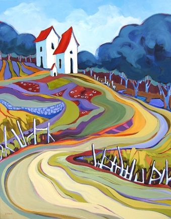 Contemporary landscape painting Cover Crop Patterns, painting by artist Carolee Clark