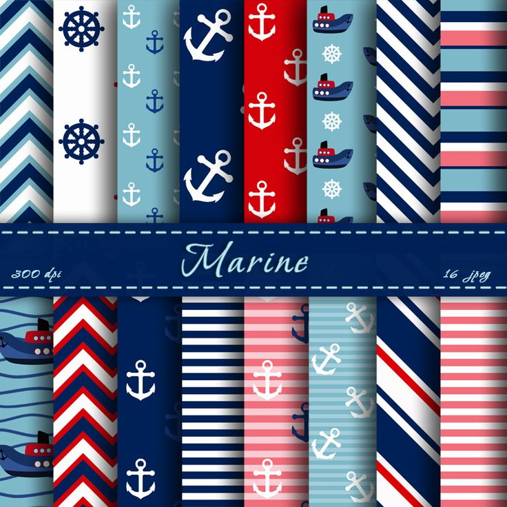 Nautical Digital Paper Scrapbooking Papers Digital Backgrounds For Personal Or Commercial Use