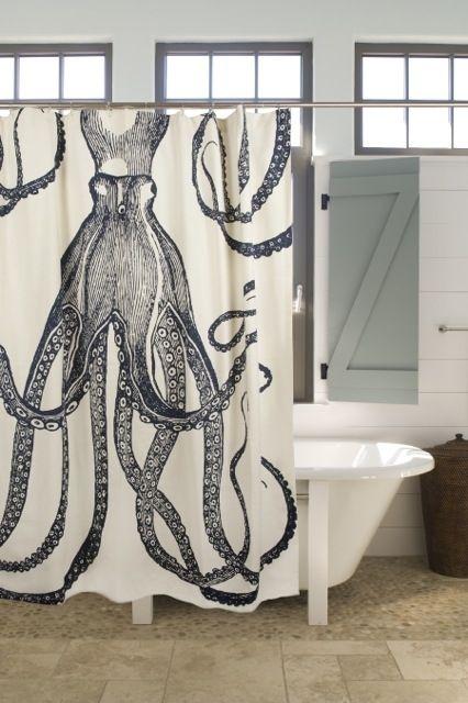 Nautical Octopus Shower Curtain #decor