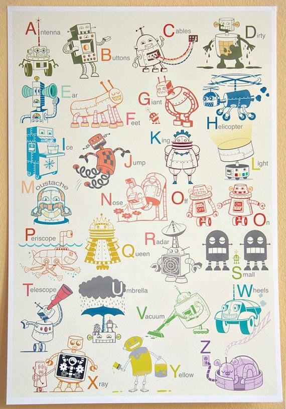 The Robot Alphabet Large Print, 13 x 19. $48.00, via Etsy.